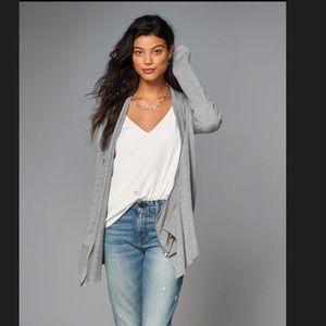 A&F heather gray asymmetrical zip up cardigan